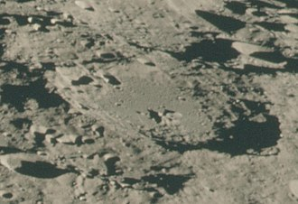Demonax (crater) - Oblique view of Demonax from Apollo 15, facing southwest