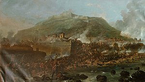 47th (Lancashire) Regiment of Foot - The Siege of San Sebastián where the 2nd battalion lost 17 of its 22 officers and almost half the other ranks in August 1813, by Denis Dighton