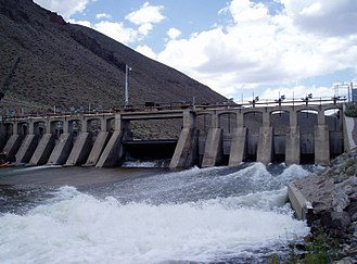 Derby Dam - The Truckee River diversion dam built in 1903-04 diverts water that formerly ran unchecked into Winnemucca Lake and Pyramid Lake to the Lake Lahontan reservoir, where it is used for irrigation.
