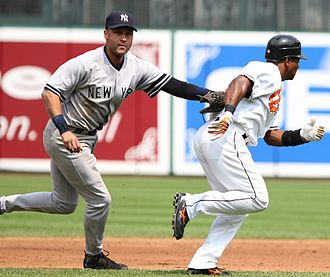 Derek Jeter - Jeter tagging out Miguel Tejada in 2007