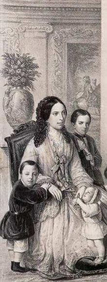 Detail of an 1854 drawing of the Family of Vittorio Emanuele II.jpg