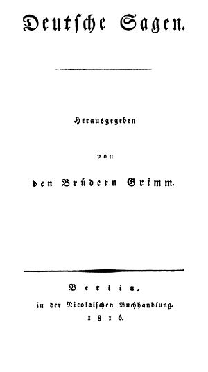 Deutsche Sagen - Title page of the first edition