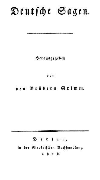Deutsche Sagen - Title page of the first edition