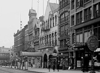 Timothy Sullivan - Dewey Theatre, owned by Timothy D. Sullivan and George Krause and leased to William Fox who used the venue for vaudeville. Attendance averaged 9,000 patrons a day.