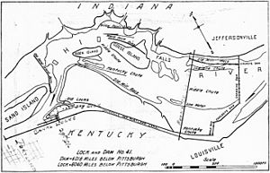 McAlpine Locks and Dam - Image: Diagram of Falls of the Ohio and Portland Canal in 1916