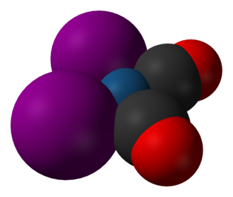 Cativa process - Image: Dicarbonyldiiodoirid ium(I) 3D vd W