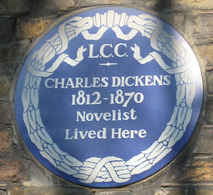 Blue plaque - London County Council plaque at 48 Doughty Street, Holborn, commemorating Charles Dickens (erected 1903)