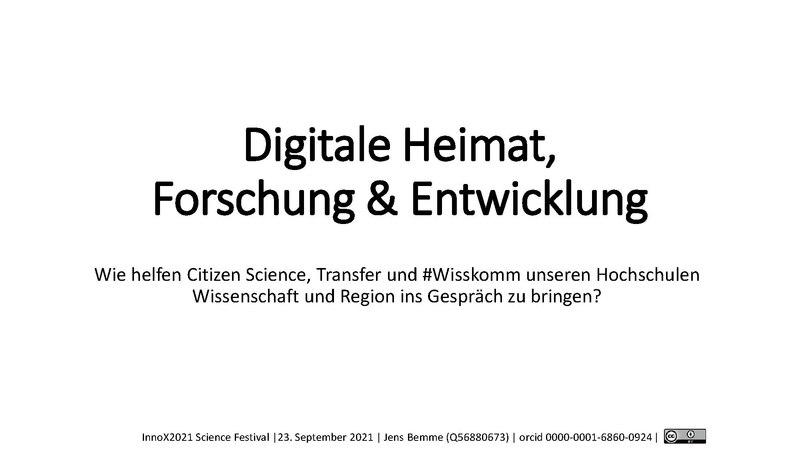 Digitale Heimat, Forschung und Entwicklung