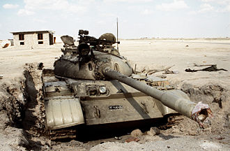 Battle for Jalibah Airfield - A disabled Iraqi T-55 tank at the airfield on 2 March 1991