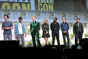 Doctor Strange (2016 film) - (L:R) Cumberbatch, Derrickson, Swinton, McAdams, Ejiofor, Mikkelsen, and Wong at the 2016 San Diego Comic-Con