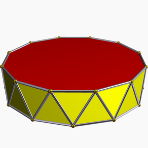Skew polygon - A uniform n-gonal antiprism has a 2n-sided regular skew polygon defined along its side edges.
