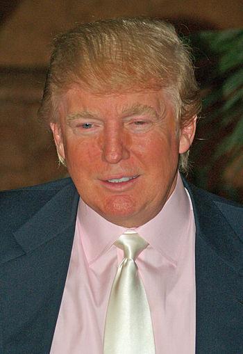 English: Donald Trump at a press conference an...