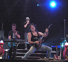 Thomas Spitzer (front, with guitar) during a performance of EAV 2008 Donauinselfest 20080905 EAV Kainrath - Eberhartinger - Spitzer.jpg