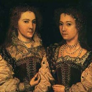 Penelope Blount, Countess of Devonshire - Portrait at Longleat House believed to be of Dorothy and Penelope Devereux c. 1581
