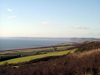 Lyme Bay - Golden Cap and East Devon from Burton Bradstock.