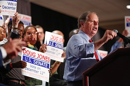 Senator Doug Jones was elected in a special election in 2017. Doug Jones Biden Event.jpg