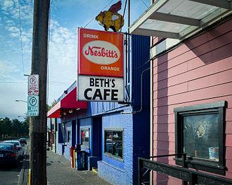 Nesbitt's - A Nesbitt's Orange sign. The flying pig above the sign may have been inspired by a Kenn Nesbitt poem.