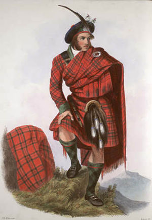 Clan Drummond - A romanticised Victorian-era illustration of a Drummond clansman by R. R. McIan from The Clans of the Scottish Highlands published in 1845.