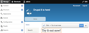 Drupal 8 in action. Showing in-context editing and previews (WYSIWYG).