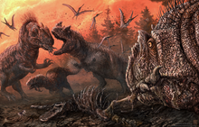 Allosaurus and Ceratosaurus fighting