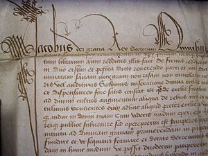 Bishop Dunbar's Hospital - The Beginning of the 1531 Charter from James V to Bishop Dunbar (in the University of Aberdeen Archives)