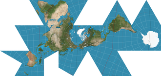 Dymaxion map - The world on a Dymaxion projection, with 15° graticule