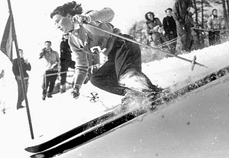 St. Moritz - Erika Mahringer competing at the 1948 Winter Olympics