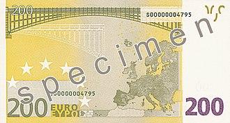 200 euro note - Reverse