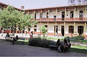 University of Santiago, Chile - View of the School of Arts and Crafts, Patio de los Héroes.