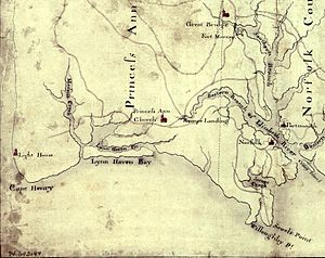 Southern theater of the American Revolutionary War - Detail of a 1770s map showing eastern Virginia and many of the places where conflict occurred in 1775. The map is oriented with North to the bottom and South to the top.