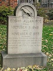 Placa colocada en el lugar de entierro original de Poe en Baltimore, Maryland, antes de su traslado.