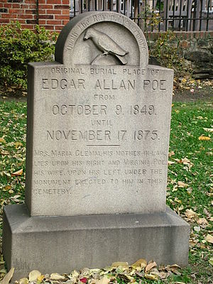 Death of Edgar Allan Poe - Poe was originally buried at the back of Westminster Hall and Burying Ground without a headstone. This stone marks the original burial plot today (Lat: 39.28972; Long: -76.62333).