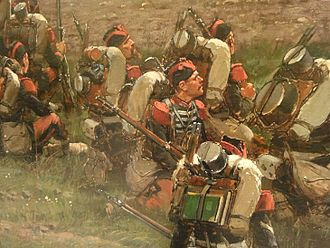Battle of Mars-la-Tour - Grenadiers of the French Imperial Guard. Detail from Édouard Detaille's painting of the battle of Rezonville.