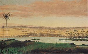English: View of Hilo Bay, oil on canvas paint...