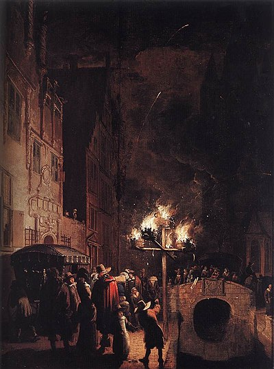 Egbert van der Poel - Celebration by Torchlight on the Oude Delft - WGA17992