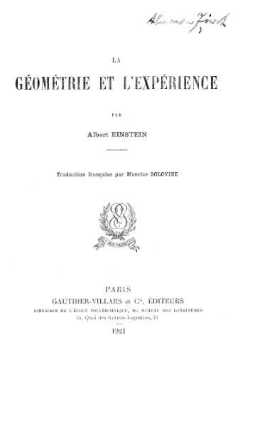 File:Einstein - La Géométrie et l'Expérience.djvu