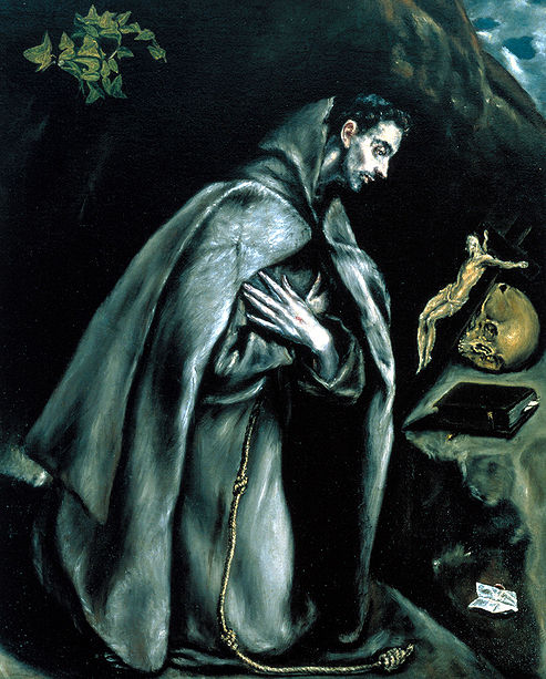 St Francis kneeling in Prayer Cross Skull El Greco