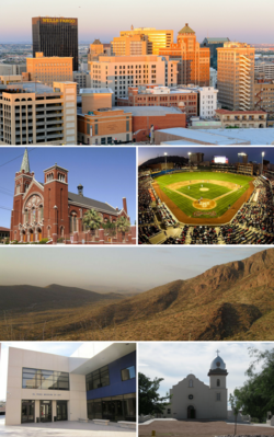 From top, left to right: El Paso skyline, Cathedral of Saint Patrick, Southwest University Park, star on the Franklin Mountains, El Paso Museum of Art, Ysleta Mission