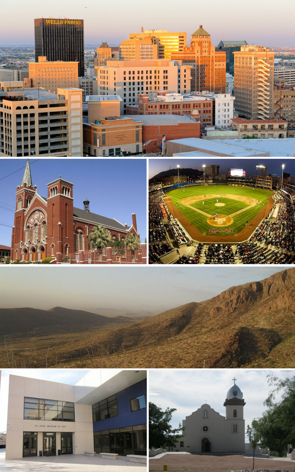 From top, left to right: El Paso skyline, Cathedral of Saint Patrick, Southwest University Park, Franklin Mountains, El Paso Museum of Art, Ysleta Mission