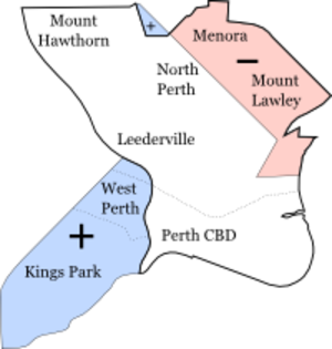 Electoral district of Perth - Map showing 2005 boundaries and changes at the 2007 redistribution.