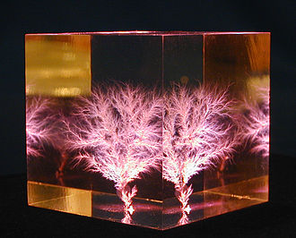 "Electrical treeing - A 3D ""Electrical Tree"" (or Lichtenberg figure), imbedded within a 1.5-inch cube of polymethyl methacrylate (PMMA)"