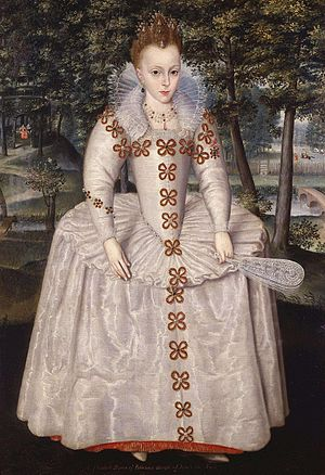 Gunpowder Plot - King James's daughter Princess Elizabeth, whom the conspirators planned to install on the throne as a Catholic Queen. Portrait by Robert Peake the Elder, National Maritime Museum.