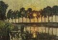 Emile Claus - Trees by a lake, Sunset (1883).jpg