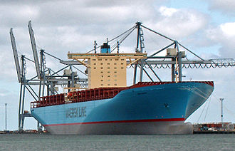East Jutland metropolitan area - Emma Mærsk, at the time the world's largest container ship, in Aarhus Harbor, 5 September 2006. Aarhus' central location within Denmark facilitates transport throughout the country and beyond