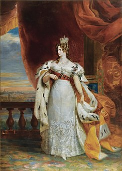 Empress Alexandra Feodorovna at the coronation of her husband, 1826.jpg