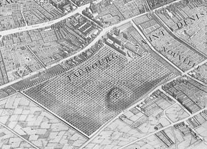 Prison Saint-Lazare - The enclos Saint-Lazare on Turgot's 1739 map of Paris