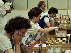 27th Chess Olympiad - The English team:Speelman, Short, Nunn, Miles