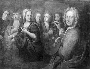 Englebert Fisen - Self-portrait with family, 1722, now in the Musée d'Ansembourg, Liège