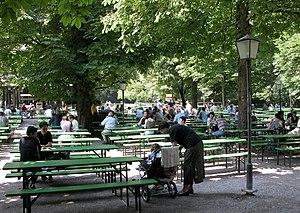 """Benjamin Thompson - The beer garden """"Am chinesischen Turm"""" in the Englischer Garten in Munich"""