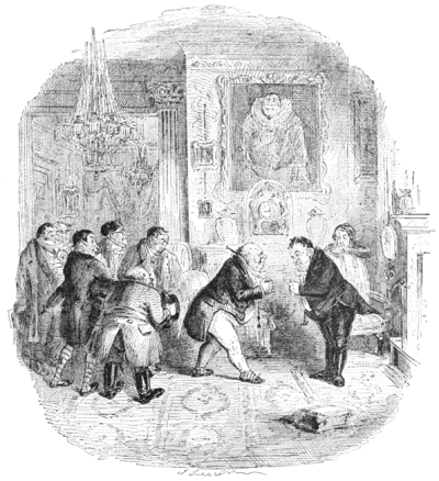 English Caricaturists, 1893 - The Mayor and Corporation of Swinestead Wait upon Mr Bagges.png